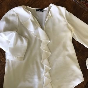White Flowy Blouse with Ruffles